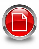 Blank Page Icon Glossy Red Round Button