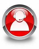 Customer Care Icon Glossy Red Round Button