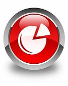 Graph Icon Glossy Red Round Button