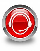 Customer Care Service Icon Glossy Red Round Button