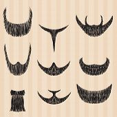 Mens retro collection of hair styling beard