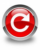 Reply Rotate Icon Glossy Red Round Button