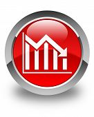 Statistics Down Icon Glossy Red Round Button
