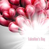vector holiday illustration of  St. Valentines Day label on the festive red balloon hearts backgroun