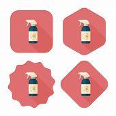 Pet Flea Spray Flat Icon With Long Shadow,eps10