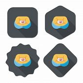 Pet Bed Flat Icon With Long Shadow, eps10