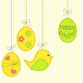 image of bird egg  - Greeting card with Easter eggs and bird in patchwork style - JPG
