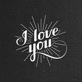 vector typographic illustration of handwritten I love you retro label. lettering composition on the
