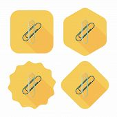 Paperclip Flat Icon With Long Shadow,eps10