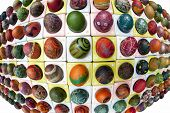 Expressive Fisheye Look At Hand Painted And Decorated Colorful Eggs For Easter