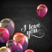 vector chalk typographic illustration of handwritten I love you retro label. lettering composition o