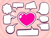 Illustration Of Heart With Speech Comics Bubbles On Pink Background.