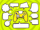 Illustration Of Joystick With Speech Comics Bubbles On Green Pattern Background.