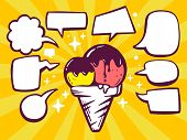Illustration Of Ice Cream With Speech Comics Bubbles On Yellow Background.