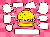Illustration Of Big Burger With Speech Comics Bubbles On Pink Pattern Background.