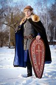 foto of reconstruction  - young man historical reconstruction warrior of ancient Russia - JPG