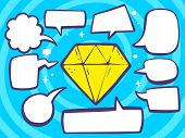Illustration Of Yellow Diamond With Speech Comics Bubbles On Blue Background.