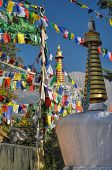 picture of himachal pradesh  - Colorful buddhist prayer flags in town of Dharamshala Himachal Pradesh India - JPG