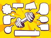 Illustration Of Dumbbell With Speech Comics Bubbles On Yellow Background.
