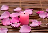 Rose with rose petals, salt in wooden bowl on mats