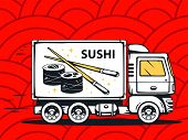 Illustration Of Truck Free And Fast Delivering Sushi To Customer On Red Pattern Background.