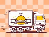 Illustration Of Truck Free And Fast Delivering Burger With Crown To Customer On Pattern Backg