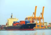 Commercial Ship And Cargo Container On Port Use For Import Export And Freight Logistic Water Transpo