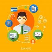 Business Management Man Illustration With Flat Icons Design Set. Marketing Web, Networking And App E