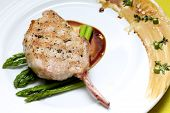 Grilled Pork Chop with Asparagus