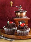 festive (birthday, valentines day) chocolate cupcake decorated with ganache and cherries