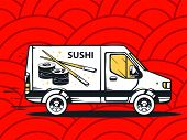 Illustration Of Van Free And Fast Delivering Sushi To Customer On Red Pattern Background.