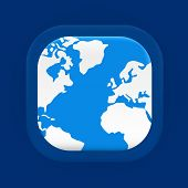 Square blue world map icon