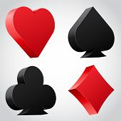 image of grub  - Set of 3d card suit icons in black and red - JPG