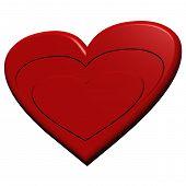 Red Valentine Heart. Three Dimensional Render.