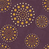 Abstract pattern with golden spheres on violet background