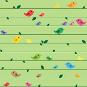 Seamless spring pattern with birds and leaves