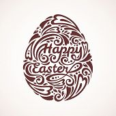 Abstract Happy Easter Lettering in Form of Egg.