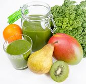 Green Smoothie With Fresh Kale And Fruits