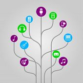 Abstract icon tree illustration - music, media, audio and sound concept