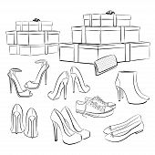 Various Fashion Shoes And Boxes
