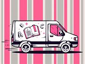 Illustration Of Van Free And Fast Delivering Open Book To Customer On Pattern Background.