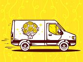 Illustration Of Van Free And Fast Delivering Bouquet Of Flowers To Customer On Yellow Backgro