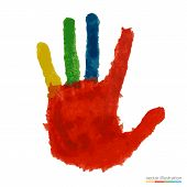 Close up of colored hand.