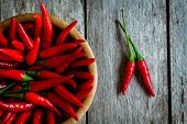 Red Hot Chili Peppers In A Bowl Closeup