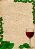 Paper In Beige Color Tone With Ornament In Form Of Glass Of Wine And Green Leaves