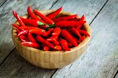 Red Hot Chili Peppers In A Bowl On Wooden Background