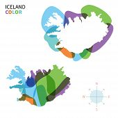 Abstract vector color map of Iceland with transparent paint effect.