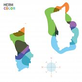 Abstract vector color map of Herm with transparent paint effect.