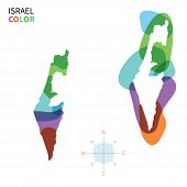 Abstract vector color map of Israel with transparent paint effect.