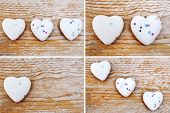 Hearts On Wooden Background - Love Concept